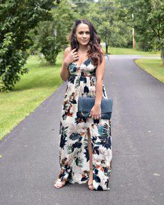 Melissa Mom with Style wearing a dark floral maxi