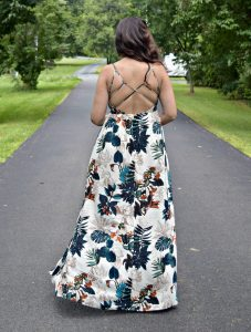 Melissa Mom with Style open back floral maxi