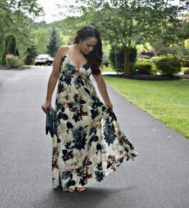 Melissa Mom with Style in a transitional fall maxi dress