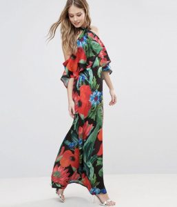 Melissa Mom with Style Asos dark floral maxi dress with a ruffles
