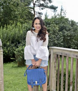 Melissa Mom with Style wearing her Forever 21 light washed denim shorts as a fall transition look