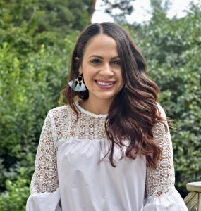 Melissa Mom with Style rocking her blue SugarFix tassel earrings