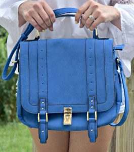 Melissa Mom with Style JustFab blue handbag