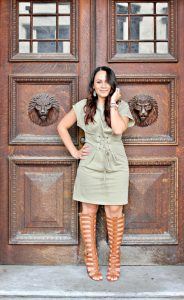 Melissa Mom with Style with a Bella V Mobile Boutique olive dress and DSW gladiator heels