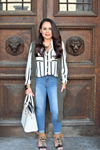 Melissa Mom with Style styling a stripe top for fall