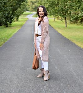Melissa Mom with Style wearing a Windsor rose gold duster with a J.Crew tee and Express distressed jeans