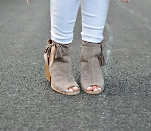 Melissa Mom with Style nude tassel open toe booties