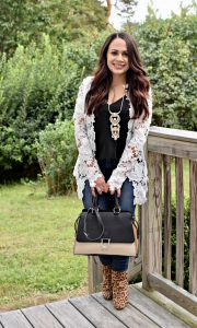 Melissa Mom with Style styling her white blazer with a Stitch Fix cami and JustFab cheetah print booties