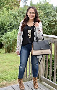 Melissa Mom with Style rocking an easy fall look with lace and animal print