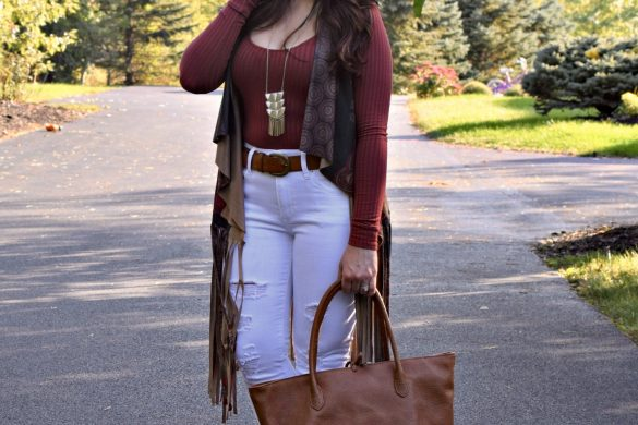 Melissa Mom with Style rocking a boho look for fall