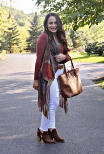 Melissa Mom with Style boho vest with Express distressed white jeans