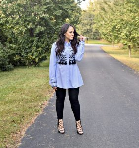 Melissa Mom with Style wearing a embroidered top from Zara and Bella V Boutique leggings