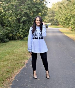 Melissa Mom with Style rocking this season hottest embroidered top with leggings and heels