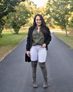 Melissa Mom with Style rocking her olive and grey look with Bella V Boutique bomber jacket