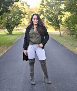 Melissa Mom with Style wearing her Forever 21 grey over the knee boots