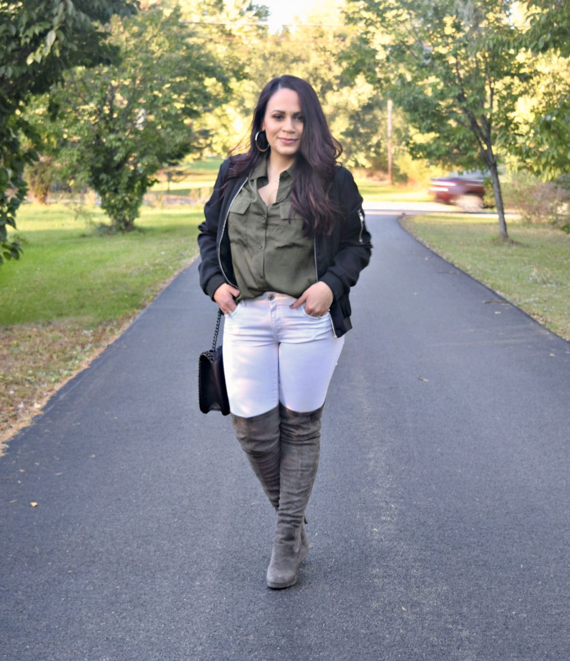 Melissa Mom with Style Stitch Fix olive button down top