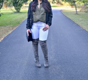 Melissa Mom with Style date night look with olive and grey
