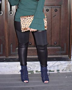 Melissa Mom with Style Christmas LookBook featuring Express faux leather jeggings