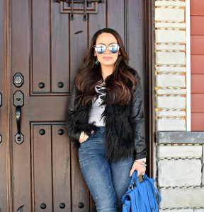 Melissa Mom with Style Pearl Jeans + Faux Fur