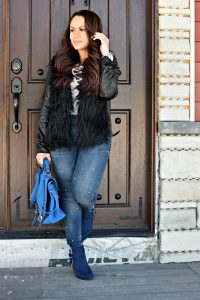 Melissa Mom with Style rocking this pear and faux fur look with a bold crossbody bag