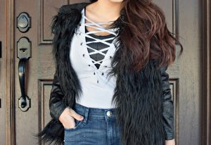 Melissa Mom with Style styling this look with a Forever 21 lace up bodysuit