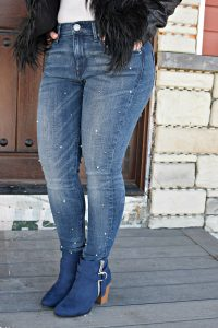 Melissa Mom with Style Express pearl jeans and Kohls blue booties