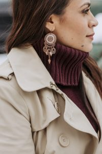 Melissa Mom with Style How to Style Your Sweater Dresses This Winter with statement earrings