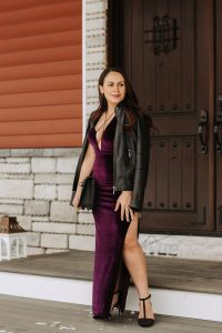 Melissa Mom with Style Date Night Tobi Maxine Plum Maxi Dress