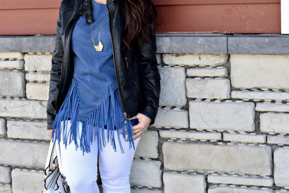 Melissa Mom with Style rocking a Bella V Boutique Fringe Sweatshirt
