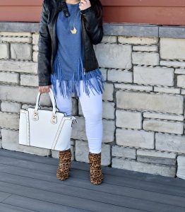 Melissa Mom with Style styling her fringe sweatshirt with JustFab leopard booties