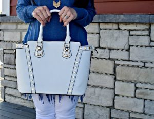 Melissa Mom with Style TJ Maxx white handbag with gold studs