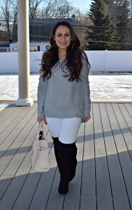 Melissa Mom with Style obsessing over here Express white jeans and TJ Maxx OTK boots