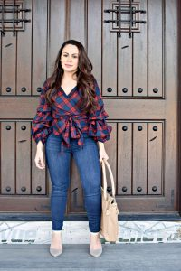 Melissa Mom with Style styling her statement Bella V Boutique plaid top