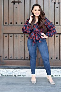 Melissa Mom with Style loving this red and blue plaid ruffle top