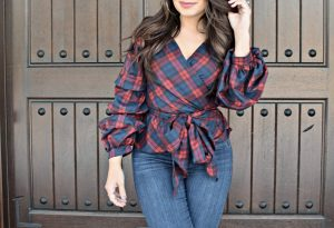 Melissa Mom with Style Bella V Boutique plaid statement top
