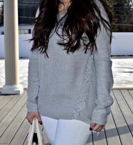 Melissa Mom with Style A.N.A. lace up sweater