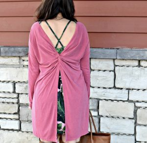 Melissa Mom with Style Open Back Tunic styling this coral tunic with a palm tree dress
