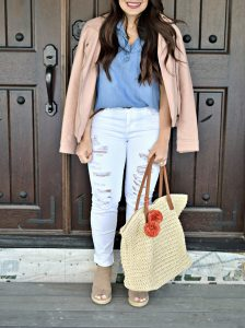 Melissa Mom with Style Chambray & White Jeans