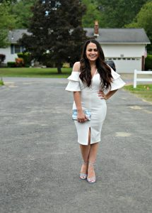 Melissa Mom with Style loving this beautiful ruffle sleeve Bella V Boutique midi dress