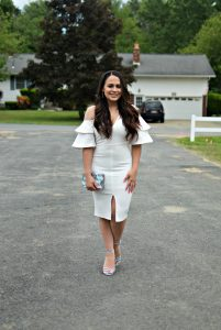 Melissa Mom with Style styling a midi, middle slit dress prefect for any bridal events this season