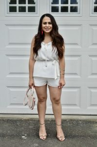 Melissa Mom with Style rocking this Bella V Boutique romper prefect for any bridal events this season