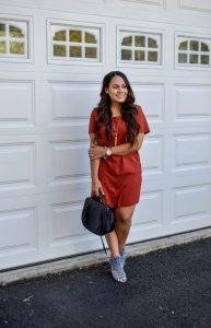 Melissa Mom with Style How to Wear a Rust Suede Dress for Fall