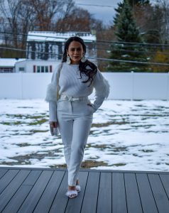 Melissa Mom with Style Head to Toe White Holiday Look