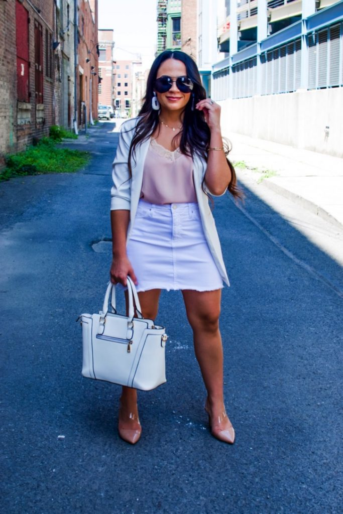 Melissa Mom with Style Dressing Up A white Denim Skirt