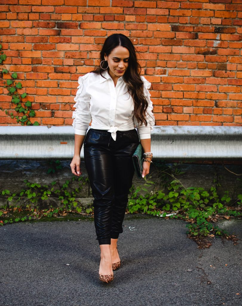Melissa Mom with Style How to Style Jogger Pants for a Holiday Party