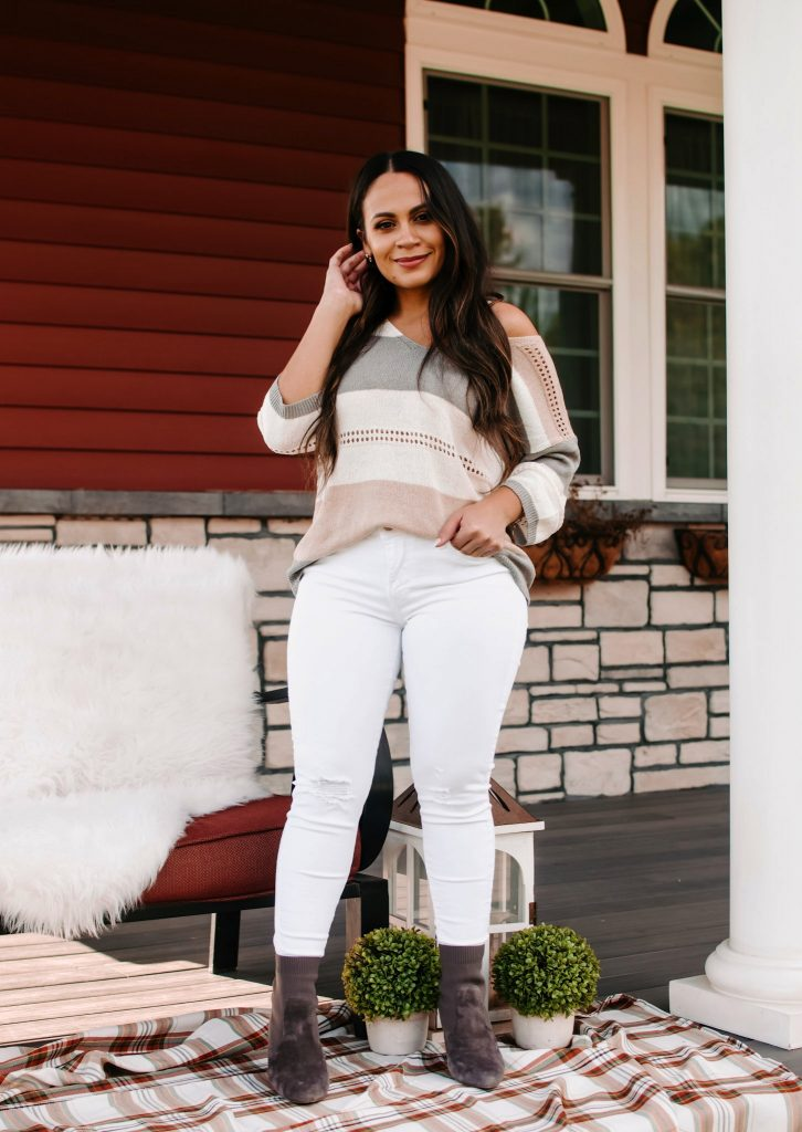 Melissa Mom with Stripe Fall Sweater