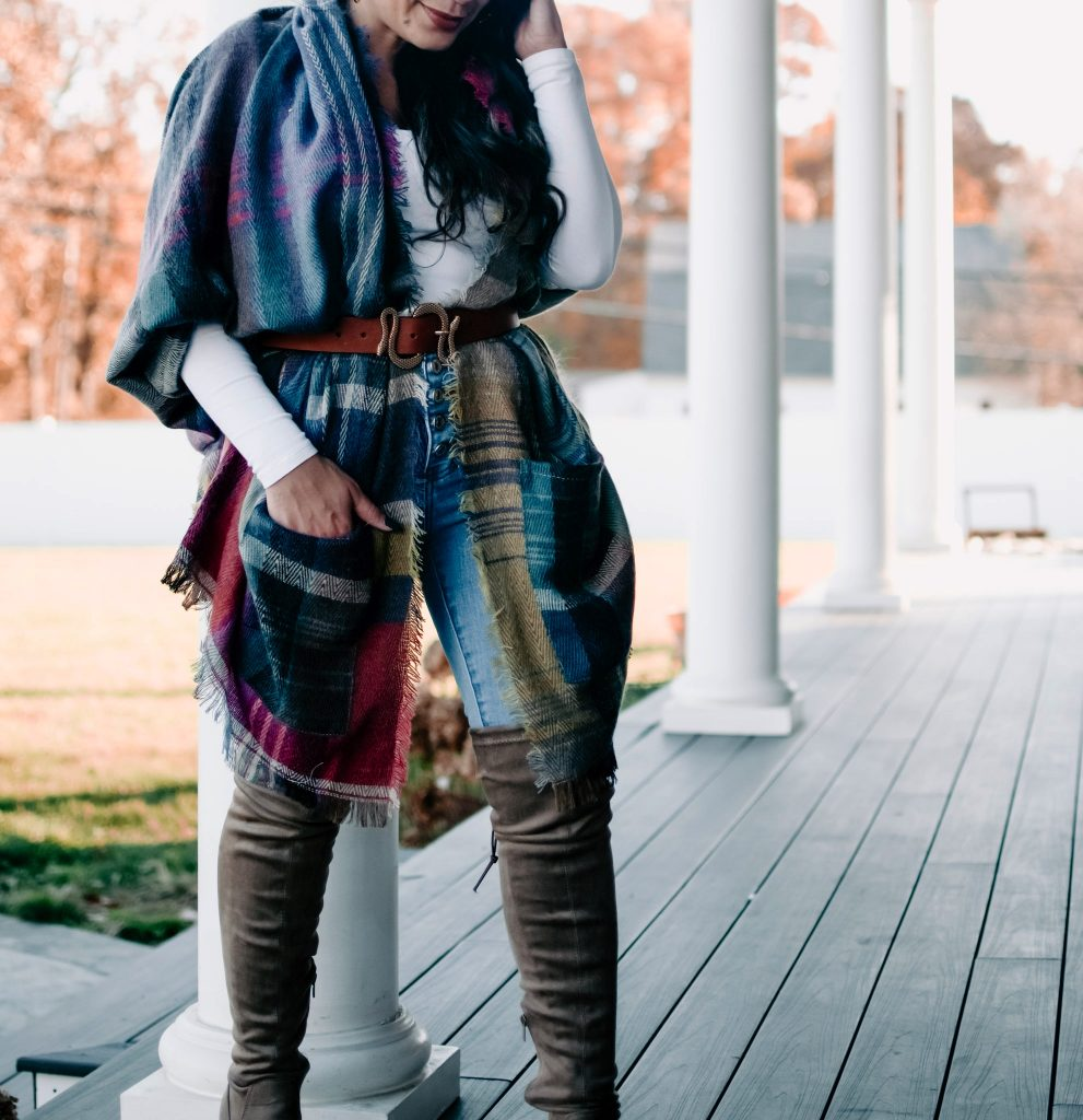 Melissa Mom with Style Plaid Belted Ruana