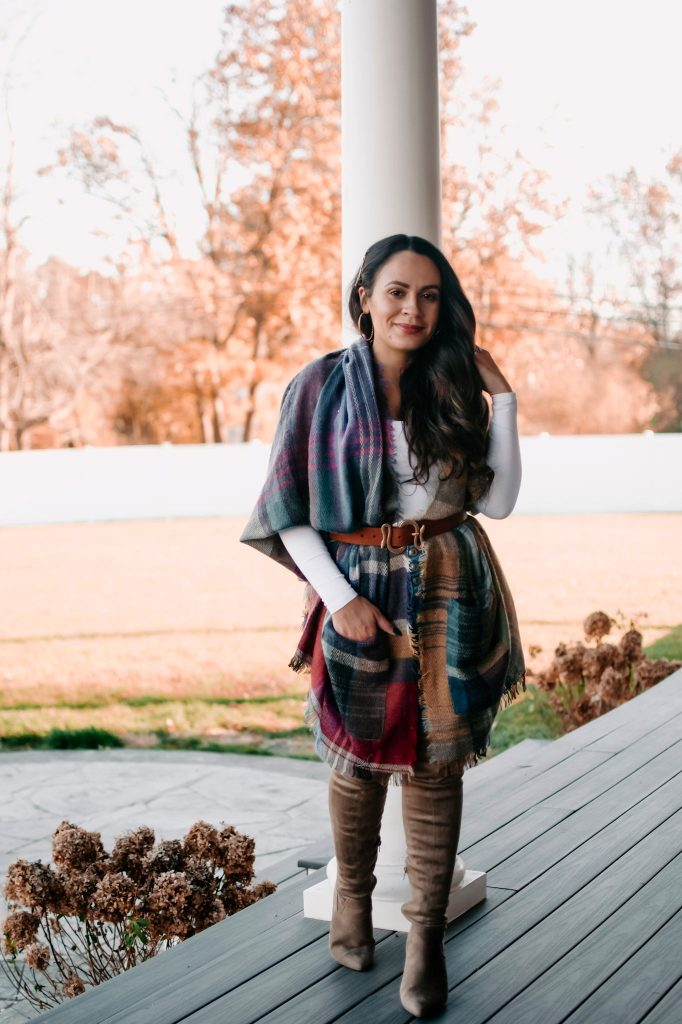 Melissa Mom with Style Pocked Plaid Scarf