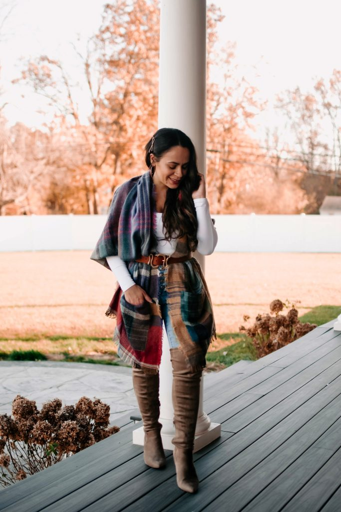 Melissa Mom with Style Plaid Scarf with Pockets