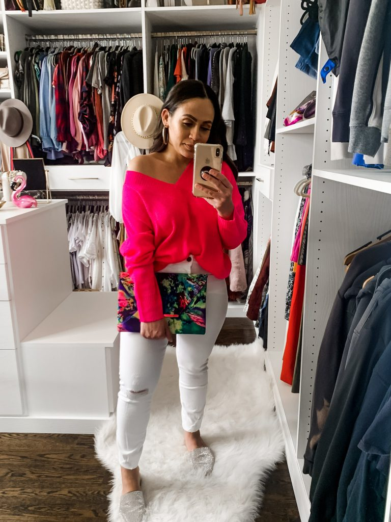 Melissa Mom with Style Pop of Color Sweater with White Jeans